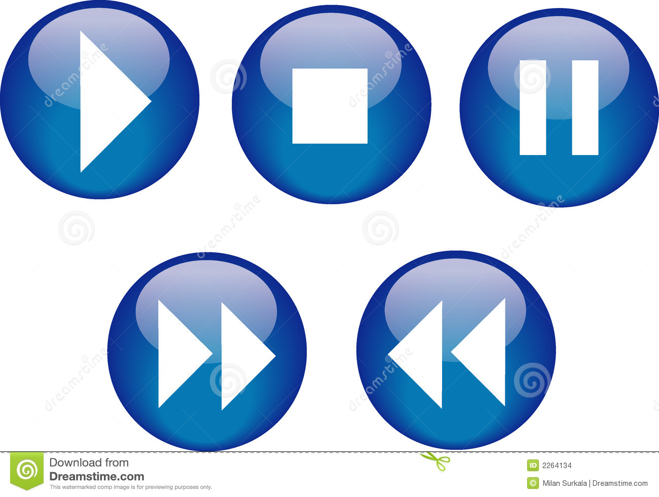 Buttons Cd Player Blue Stock Vector Image Of Stop Icon