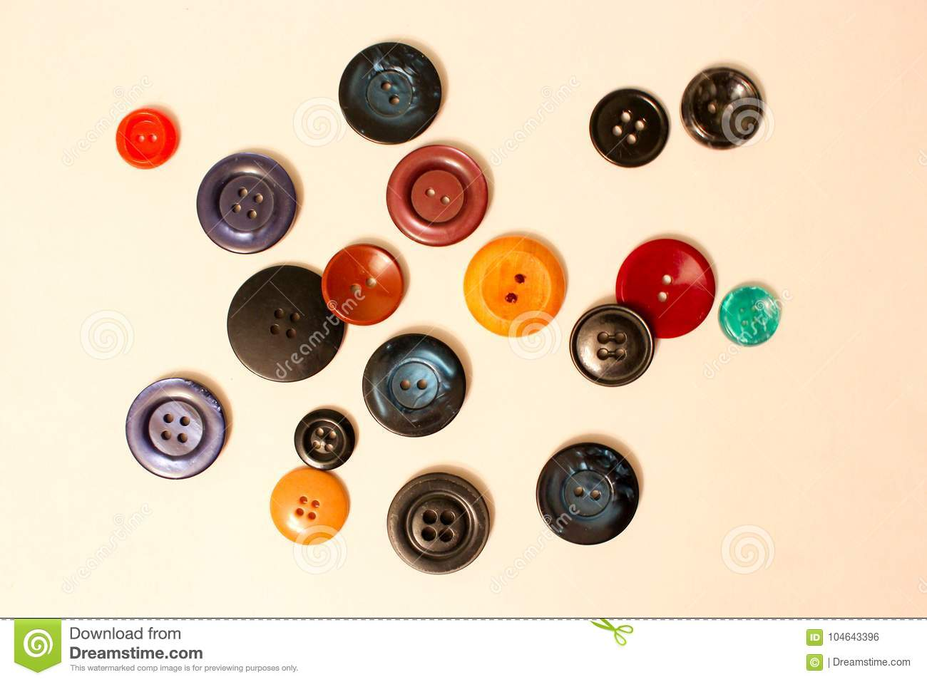 Colored buttons for clothes and ornaments
