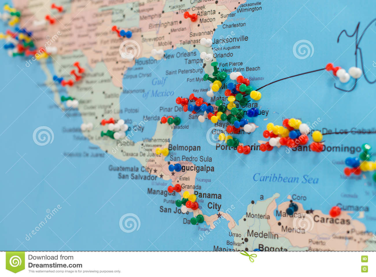 Buttons On The Cuba On The World Map Stock Image - Image of button ...