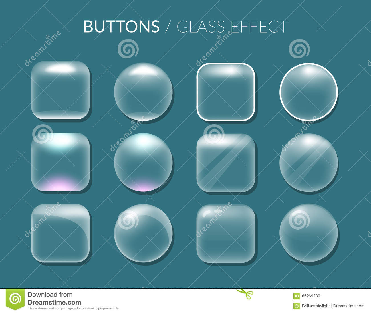 Buttons. Glass Effect. Stock Vector - Image: 66269280