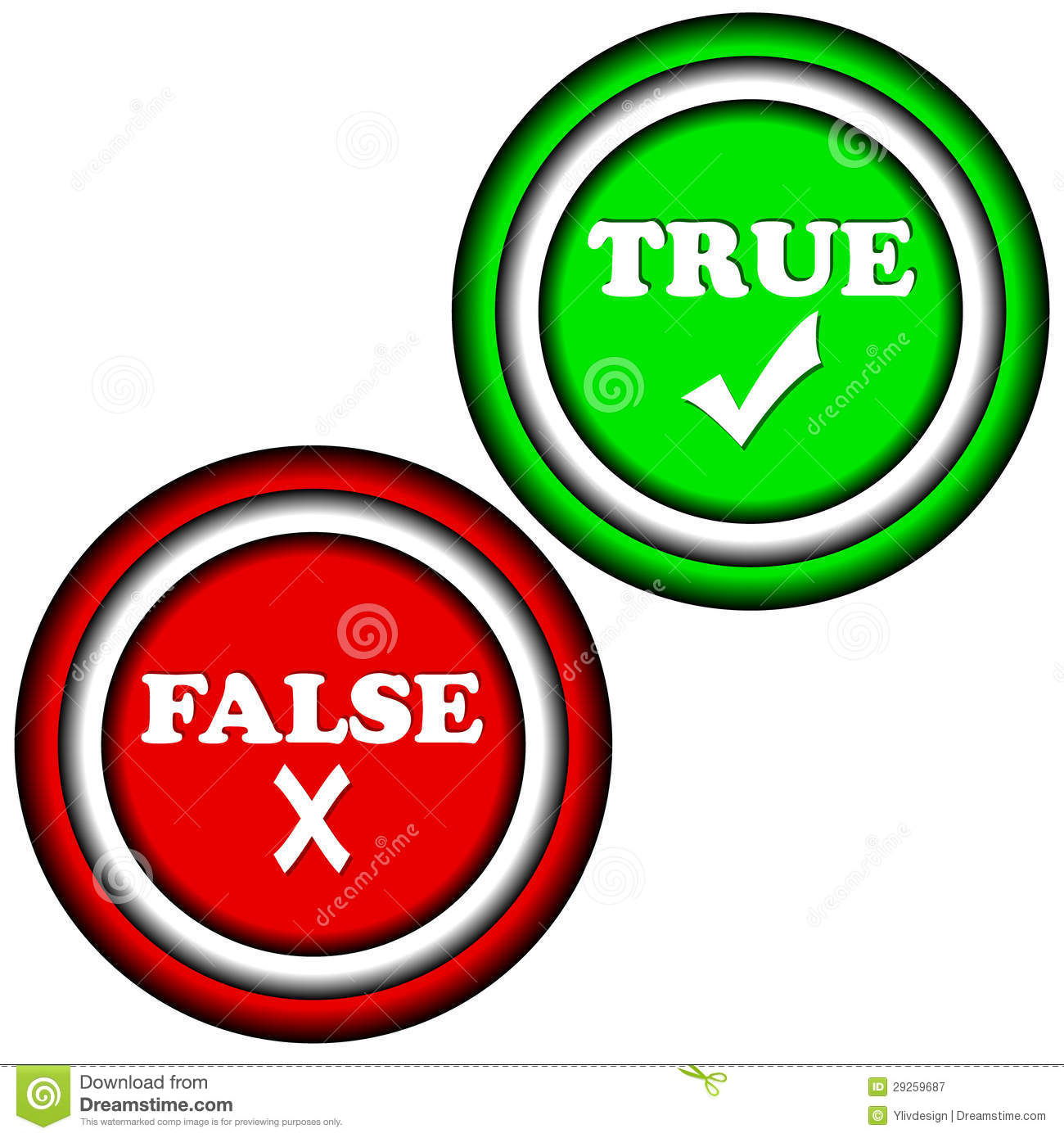 Buttons true and false royalty free stock photography image