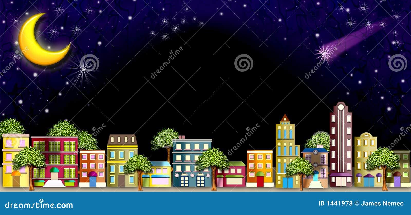 Buurt straat bij Nacht