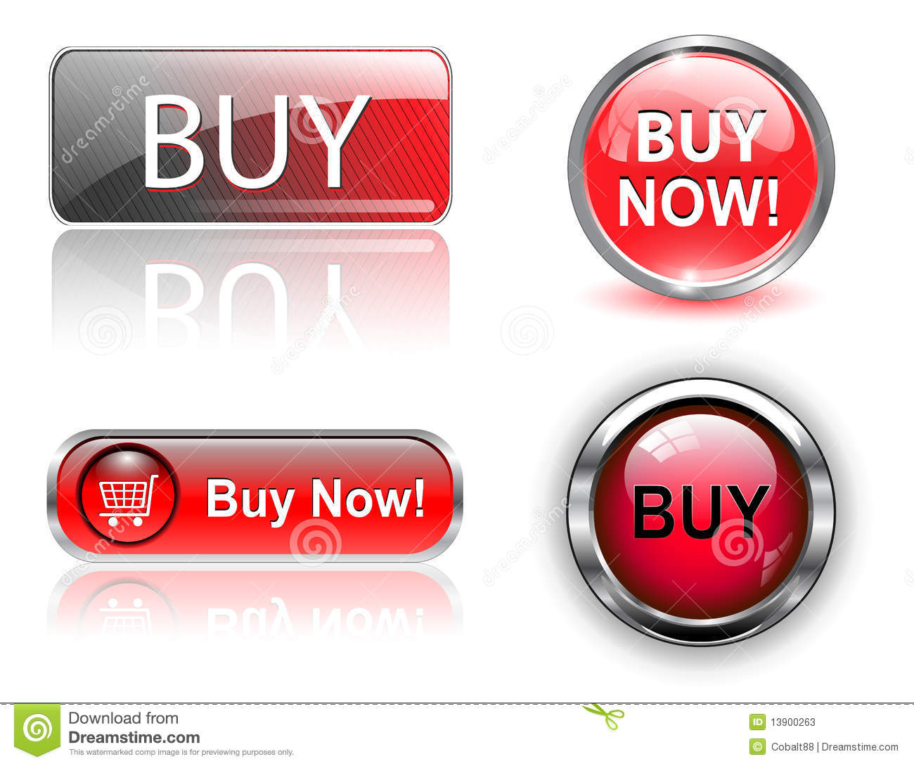 Buy Button: Buy Buttons, Icons Set. Stock Photos