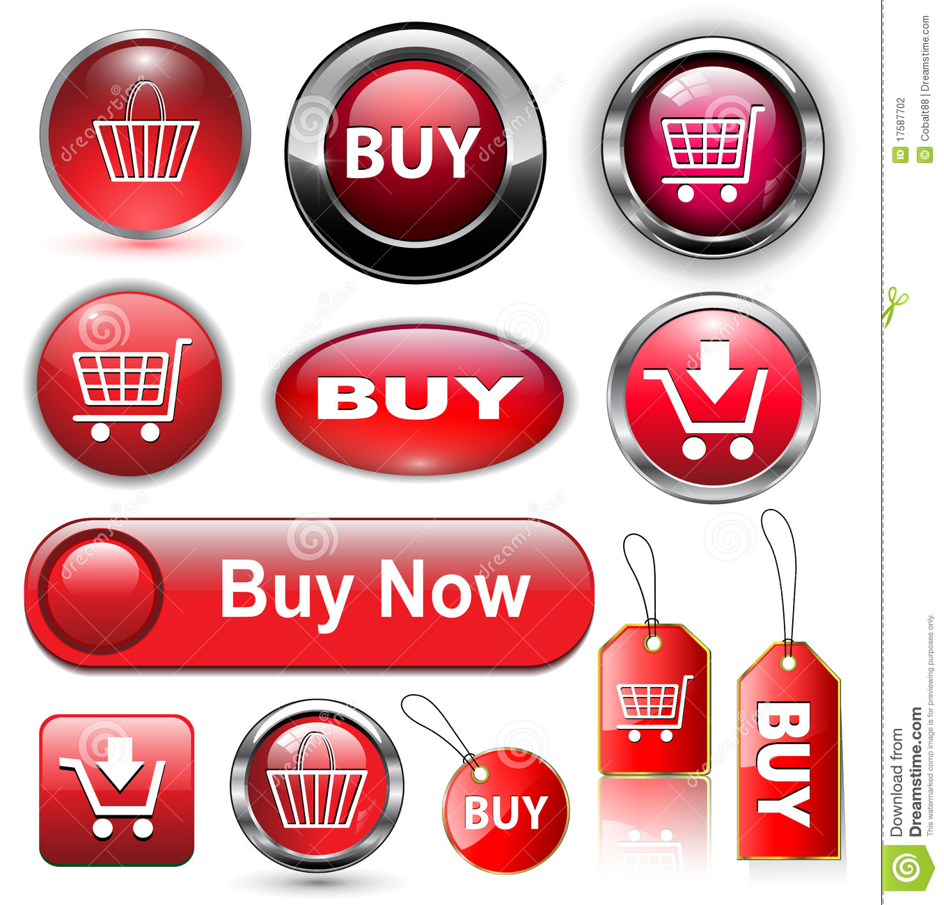Buy Button: Buy Buttons, Icons Set. Stock Vector. Illustration Of