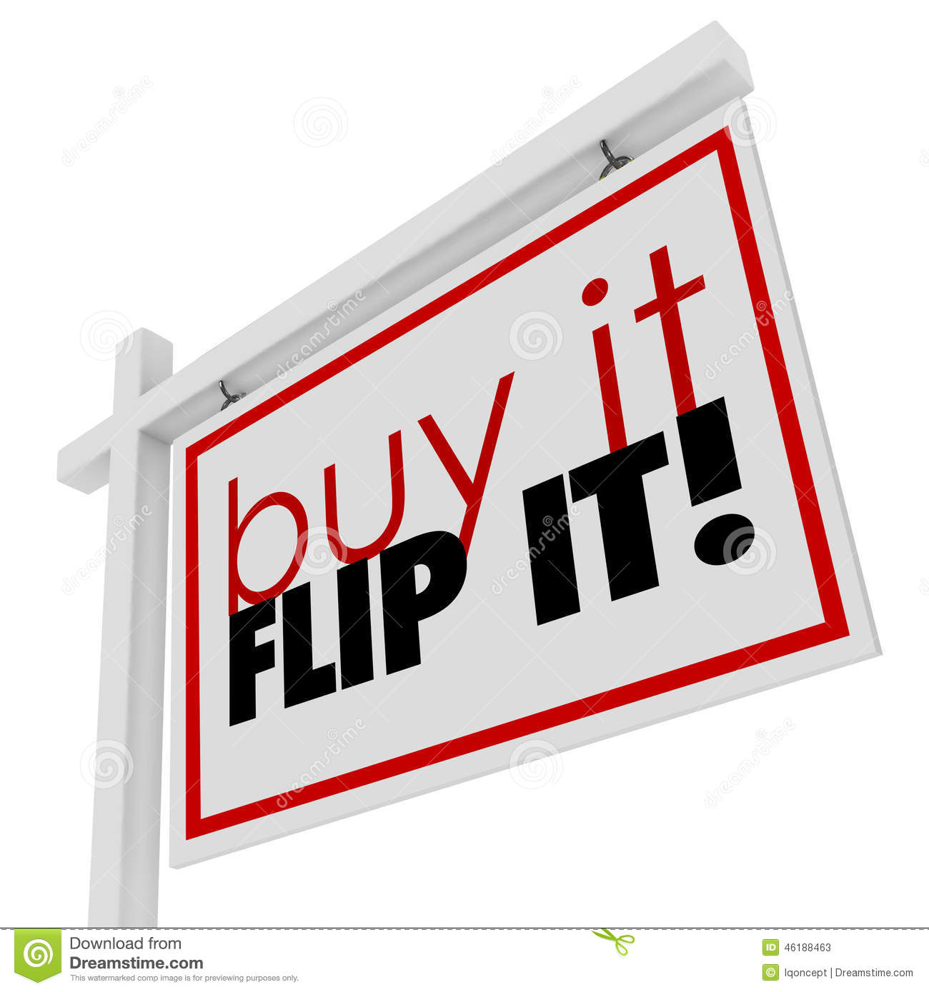 Buy it flip it words home house for sale real estate sign for Is it easy to flip houses