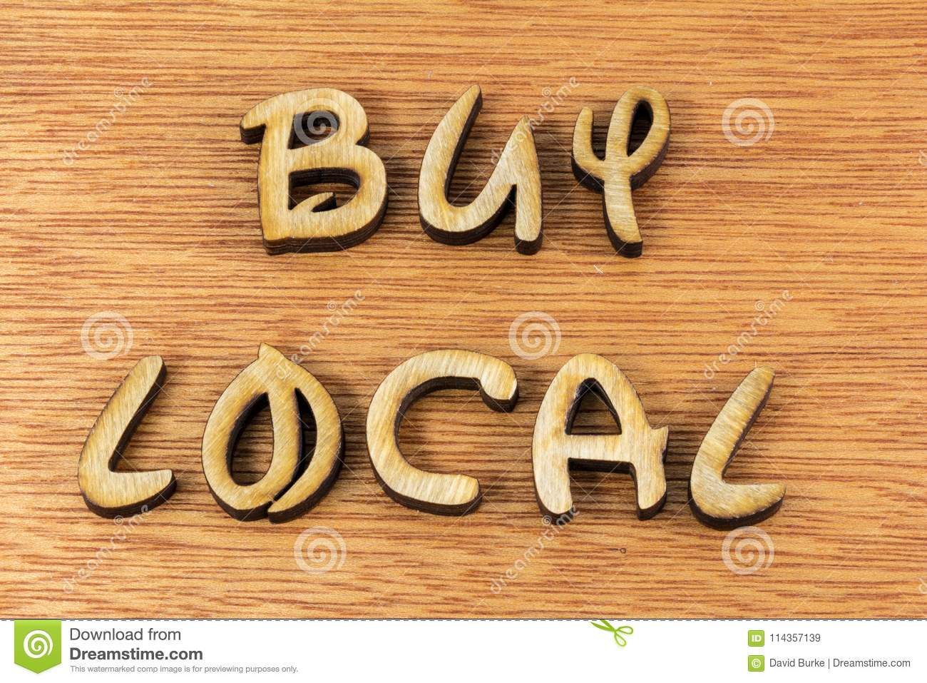 Buy Local Small Business Wood Letters Message Stock Image Image Of