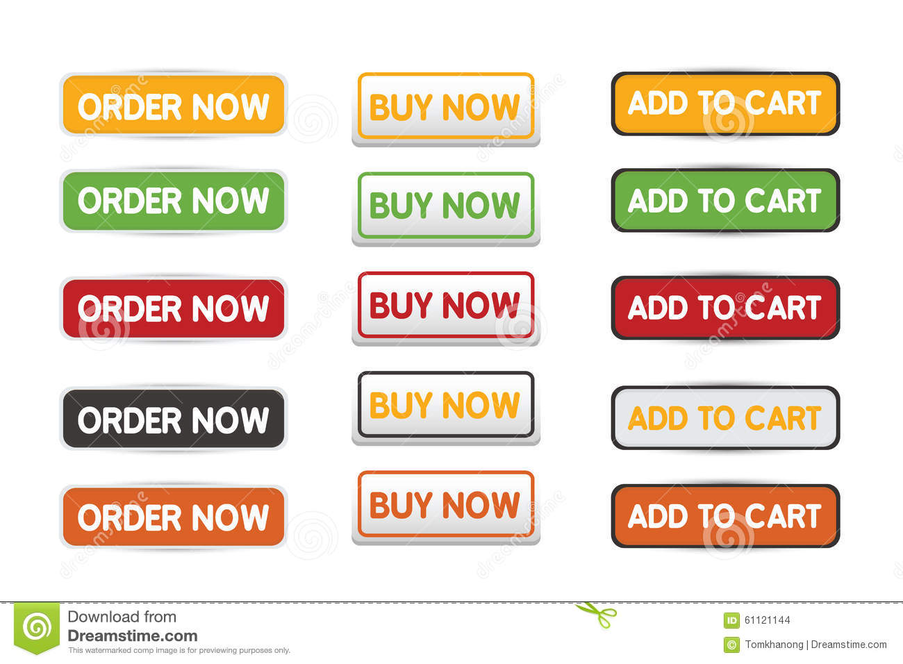 buy now order now and add to cart web botton set stock illustration