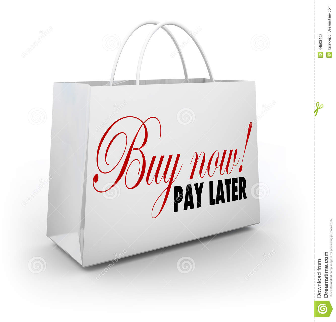 Buy now pay later words shopping bag credit financing offer deal stock