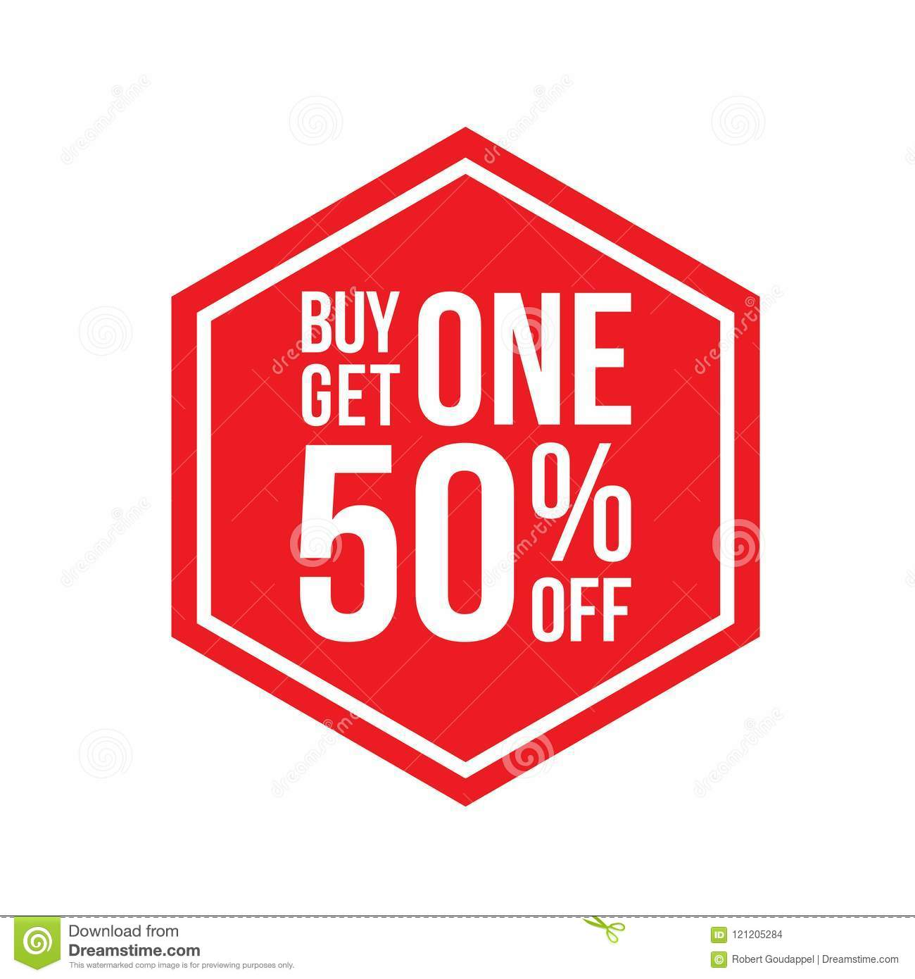 b337431299 Buy One Get One 50% Off Sign Hexagon Stock Vector - Illustration of ...