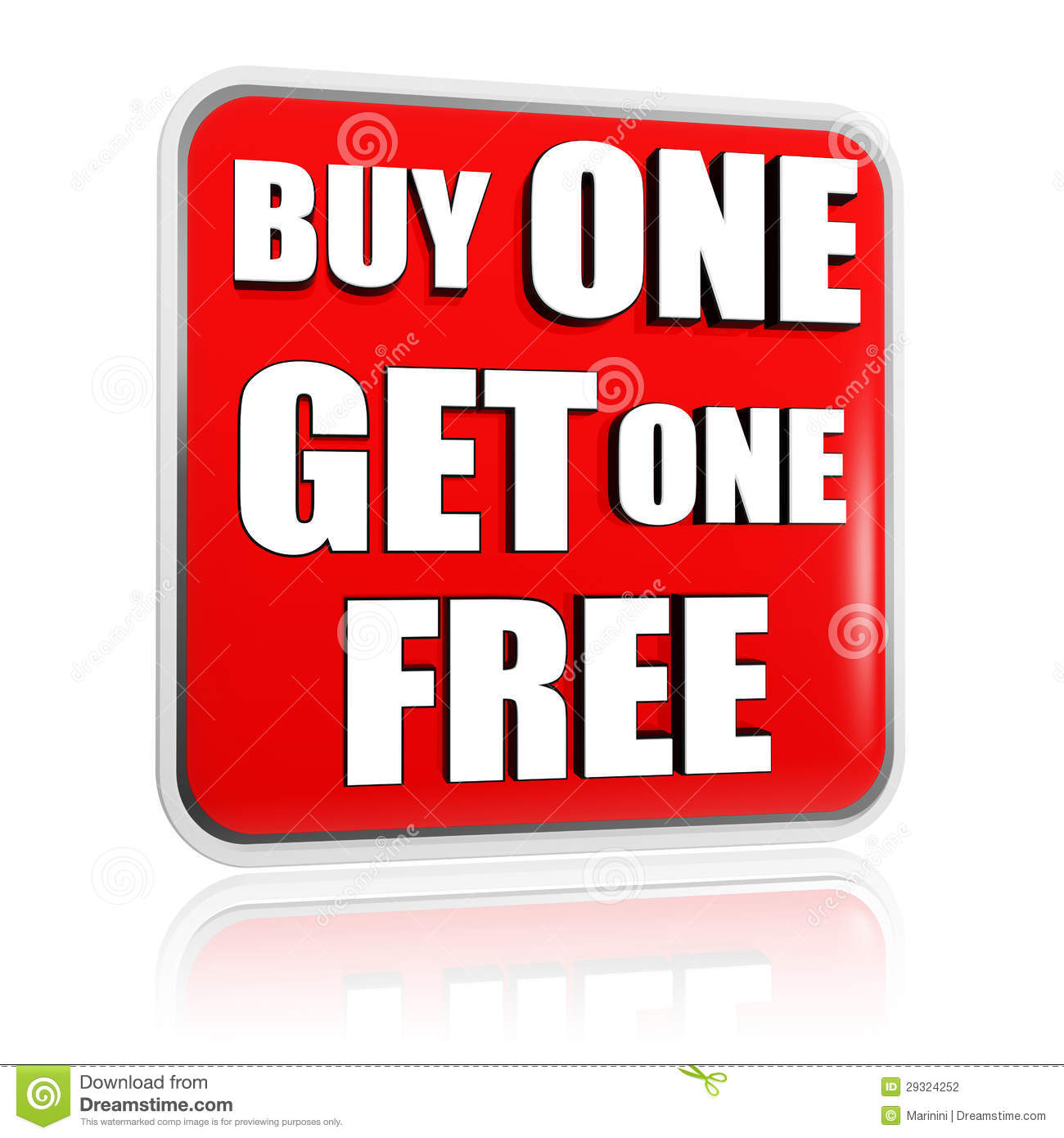 Buy One Get One: Buy One Get One Free Red Banner