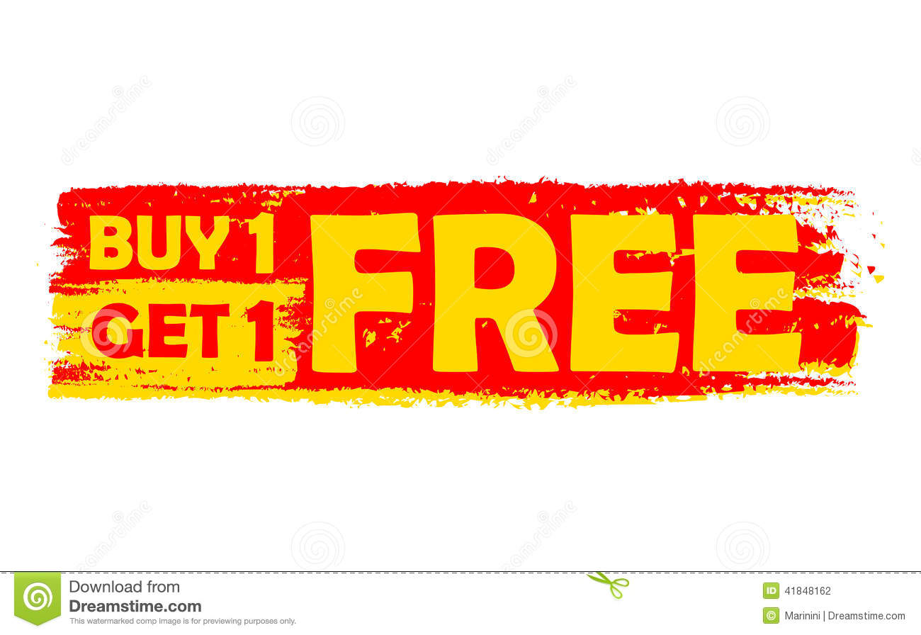 Buy one get one free, yellow and red drawn label