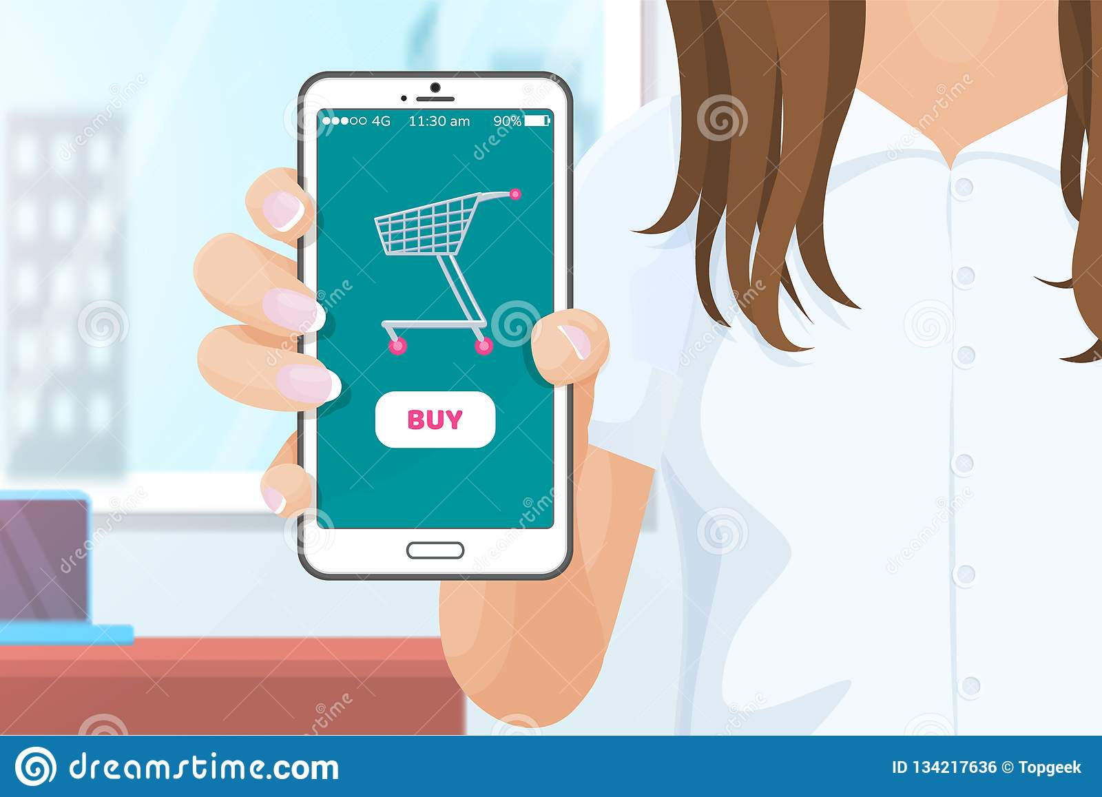 fc9ef1f2d Buy online application for purchasing products from websites. Mobile cell  phone in hands of woman