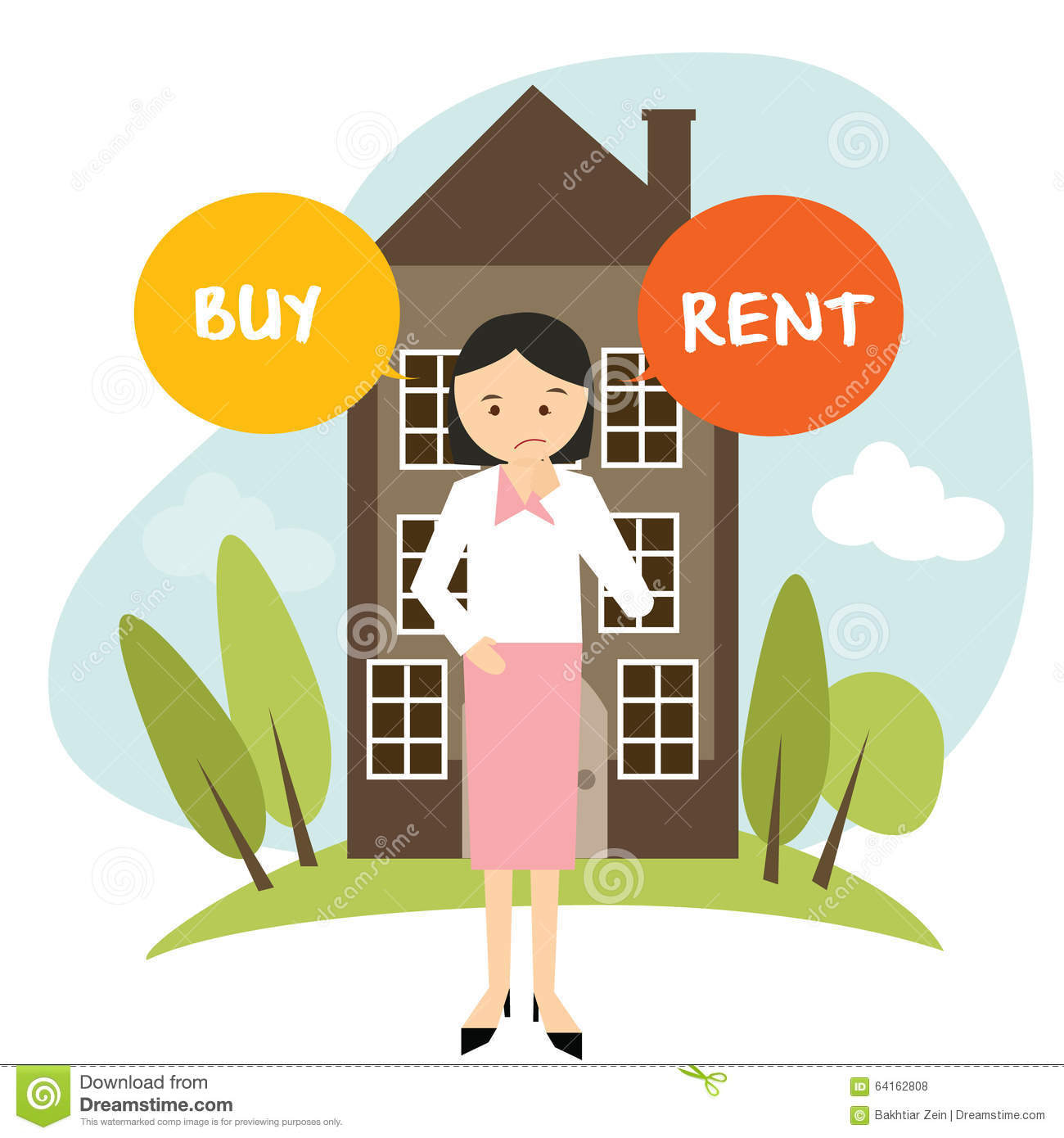 Rent An Apartment Or House: Buy Or Rent House Home Apartment Woman Decide Vector