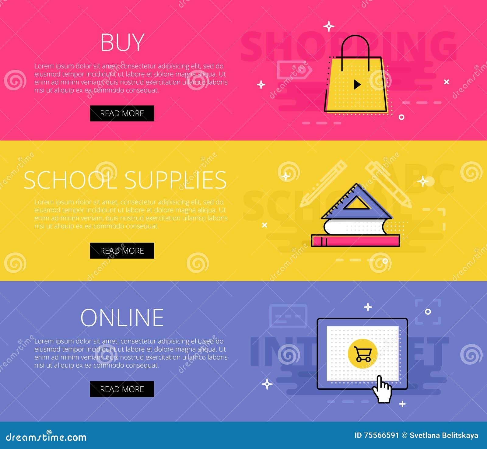 Buy School Supplies Online Vector Banners Template Set Stock