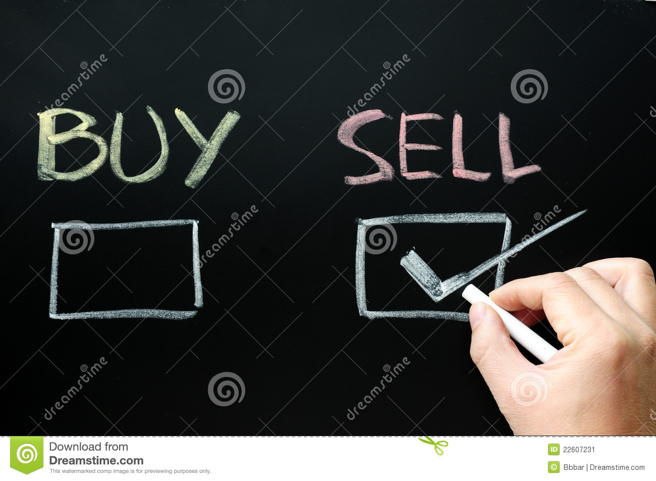Buy And Sell Check Boxes Stock Image. Image Of Financial