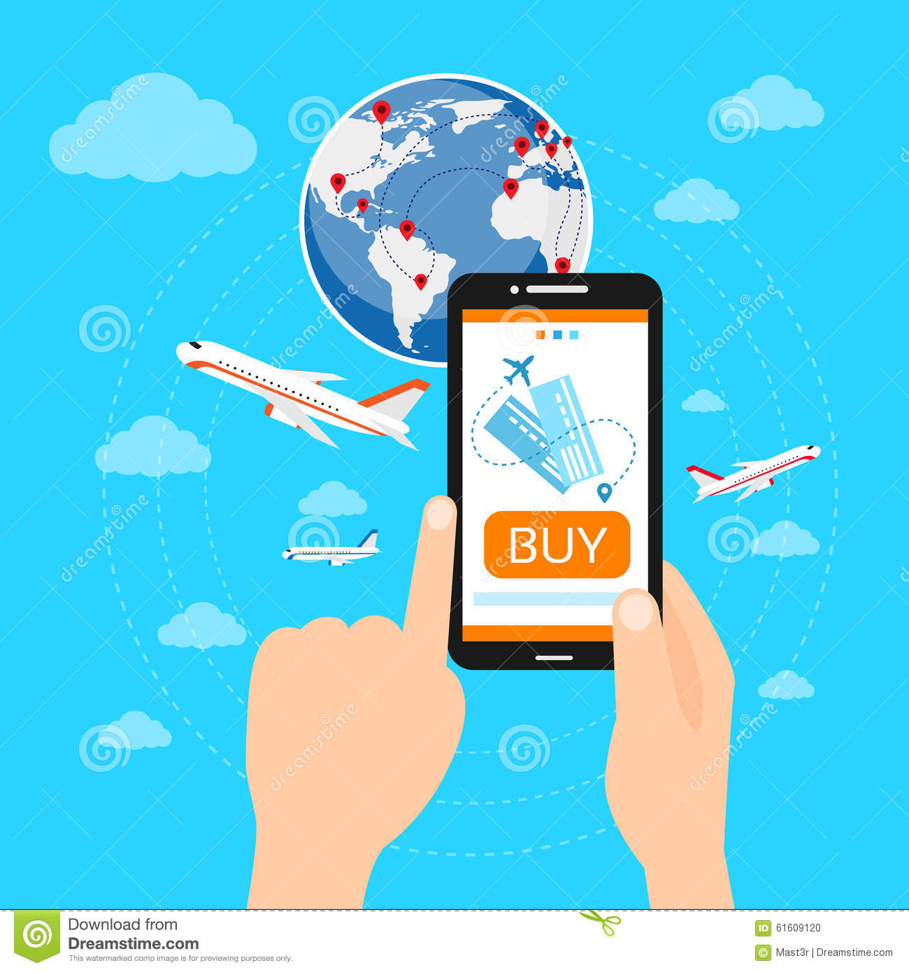 Buy ticket online smart phone application globe stock vector download comp gumiabroncs Choice Image