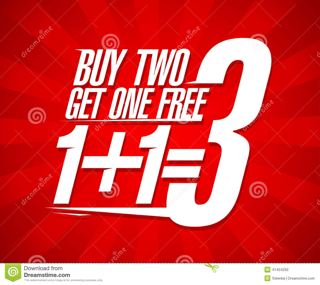 Buy: Buy Two Get One Sale Design. Stock Vector