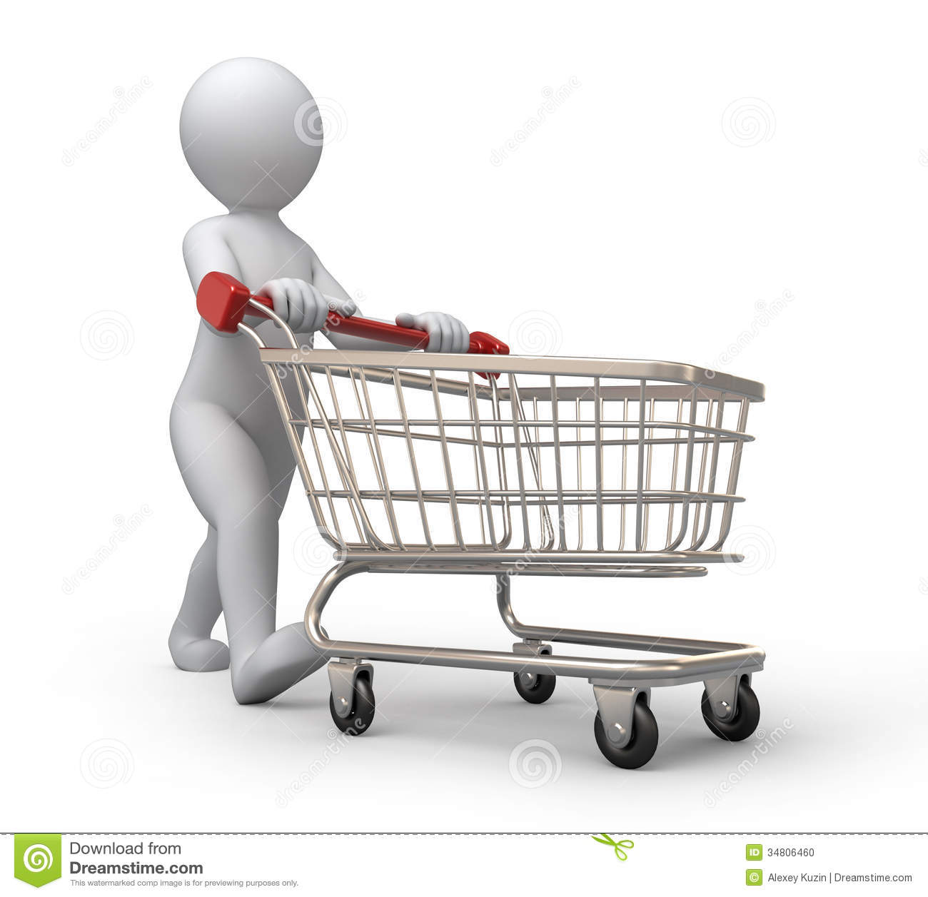 Buyer With A Shopping Cart Stock Photo - Image: 34806460
