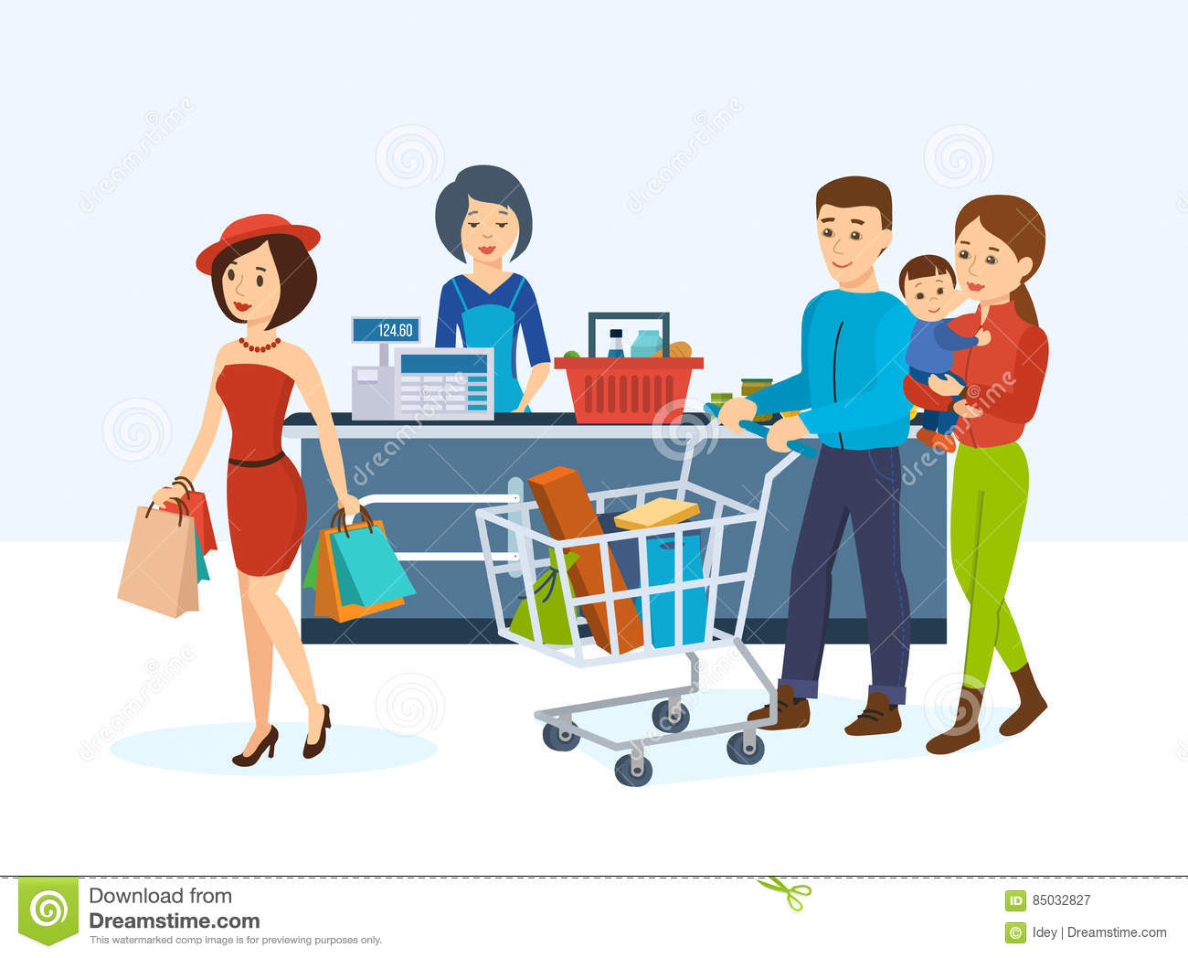 Buyers, go around the store in order to purchase goods.