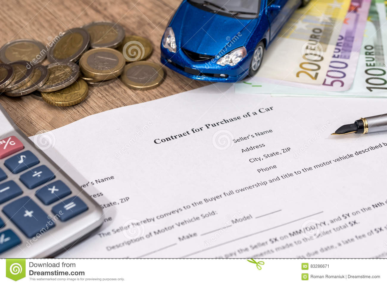 Buying A Car With Euro Money Toy Car Calculator And Pen Stock