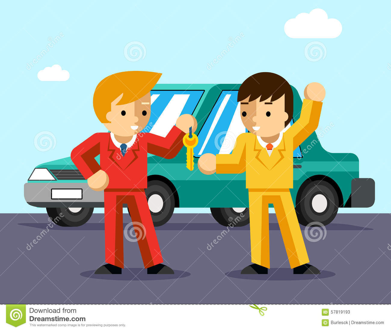 Car Seller Hand Giving Key To Buyer Cartoon Vector