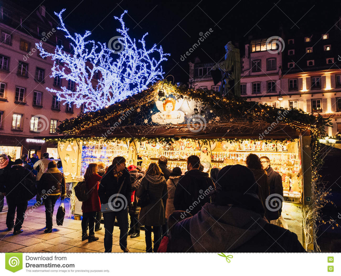 buying christmas market chalets shopping alsace