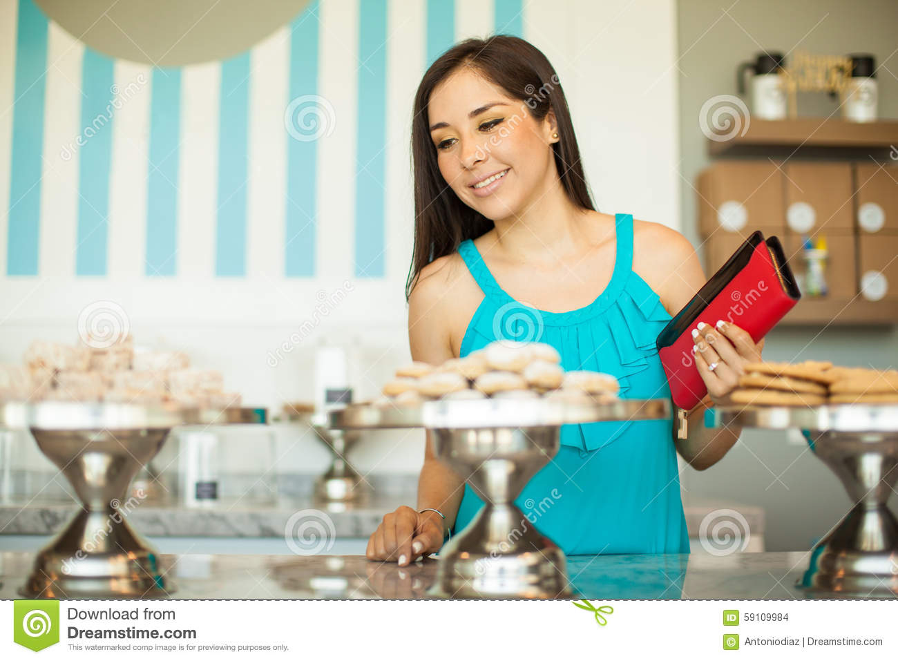 Young brunette on the counter