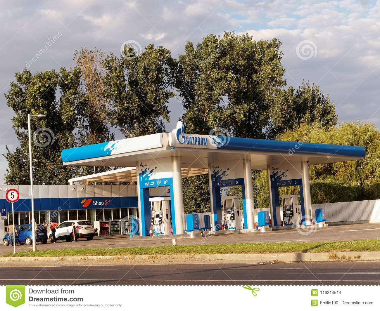 Gazprom Gas Station With Fueling Car Editorial Stock Image