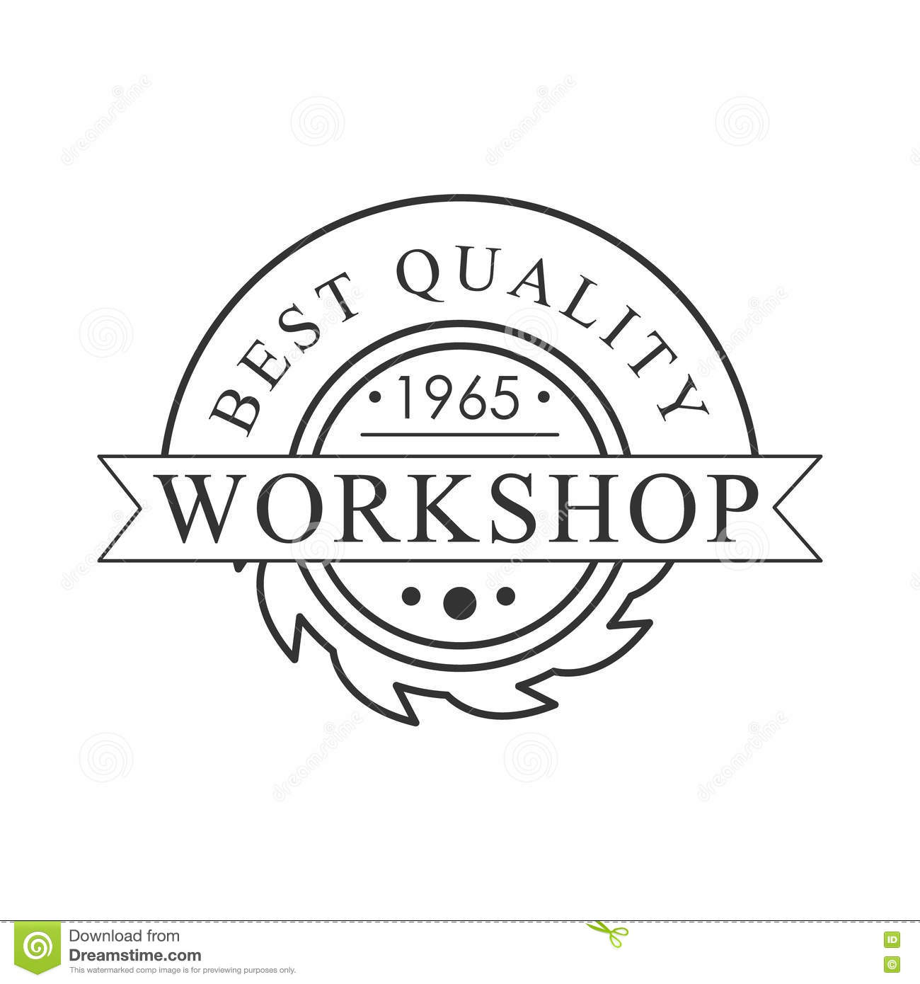 buzz saw premium quality wood workshop monochrome retro stamp vector