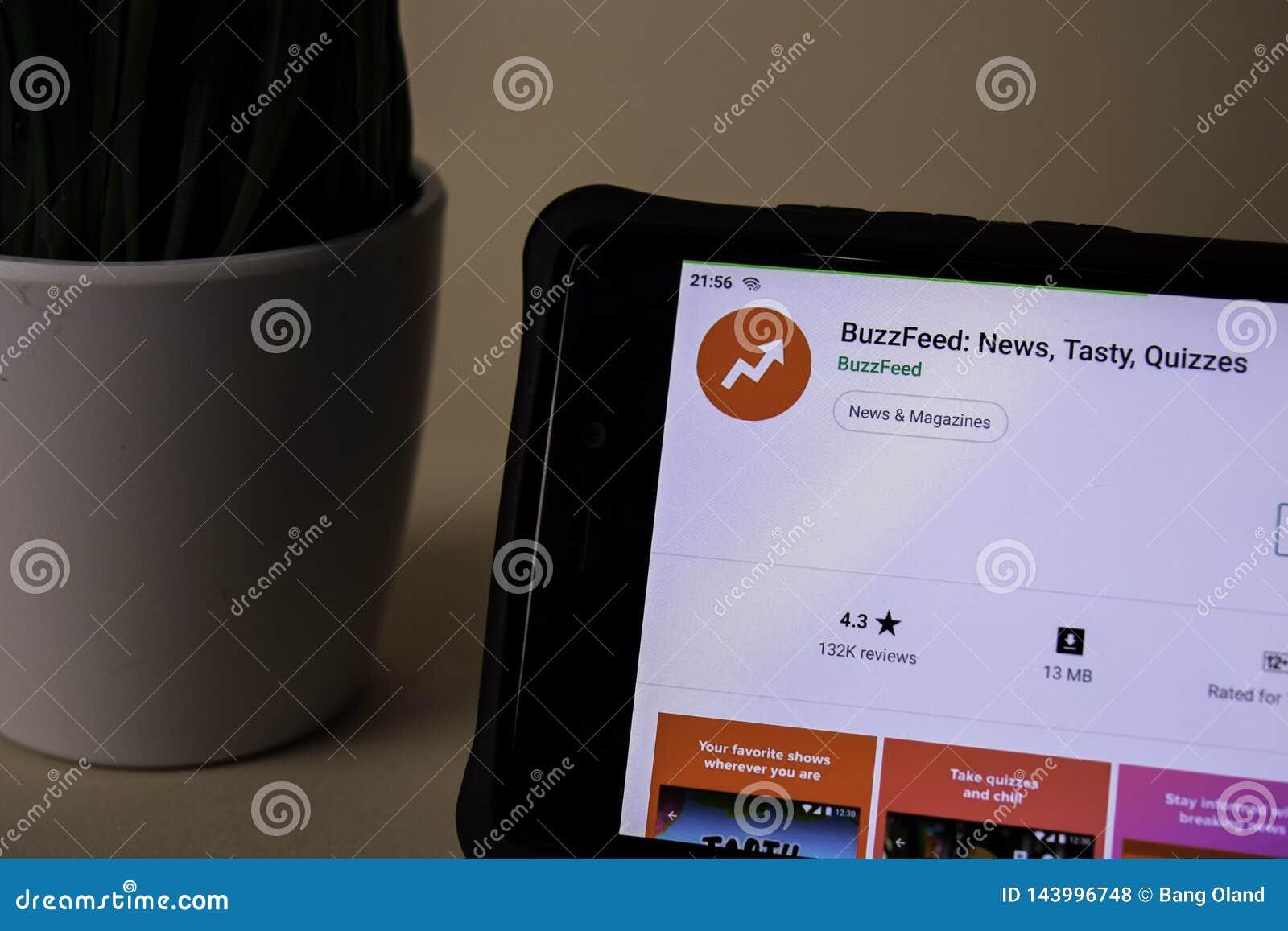 BuzzFeed: Die Nachrichten, geschmackvoll, befragen Entwickler-Anwendung auf Smartphone-Schirm BuzzFeed ist