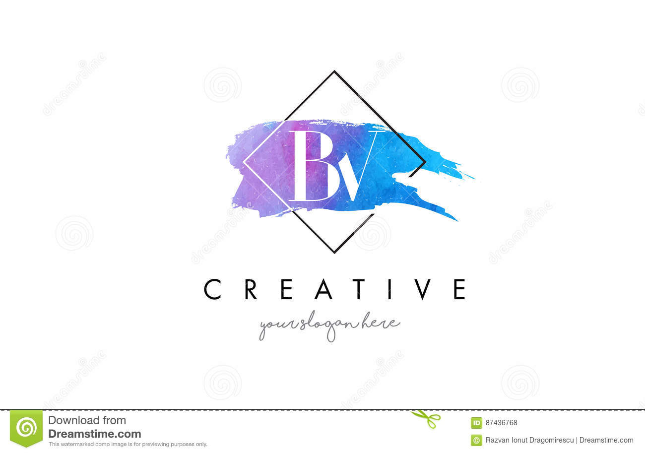 BV Artistic Watercolor Letter Brush Logo.