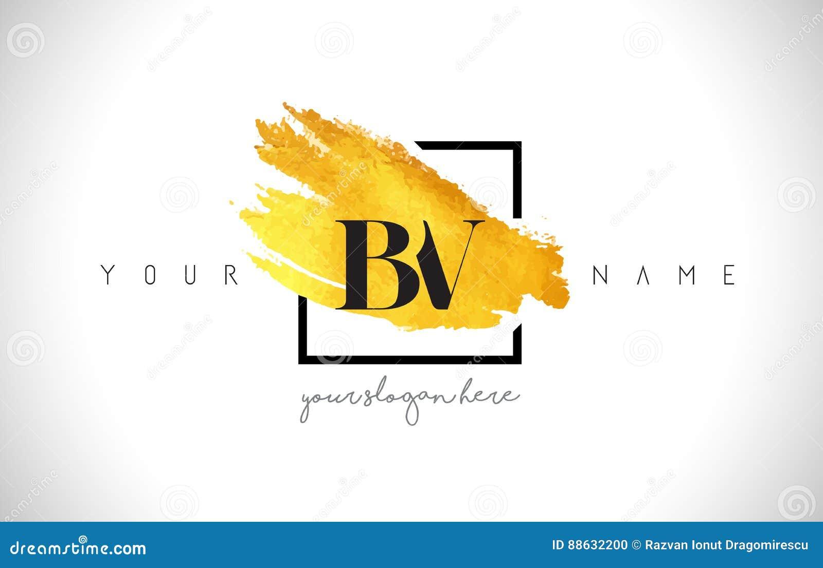 BV Golden Letter Logo Design with Creative Gold Brush Stroke