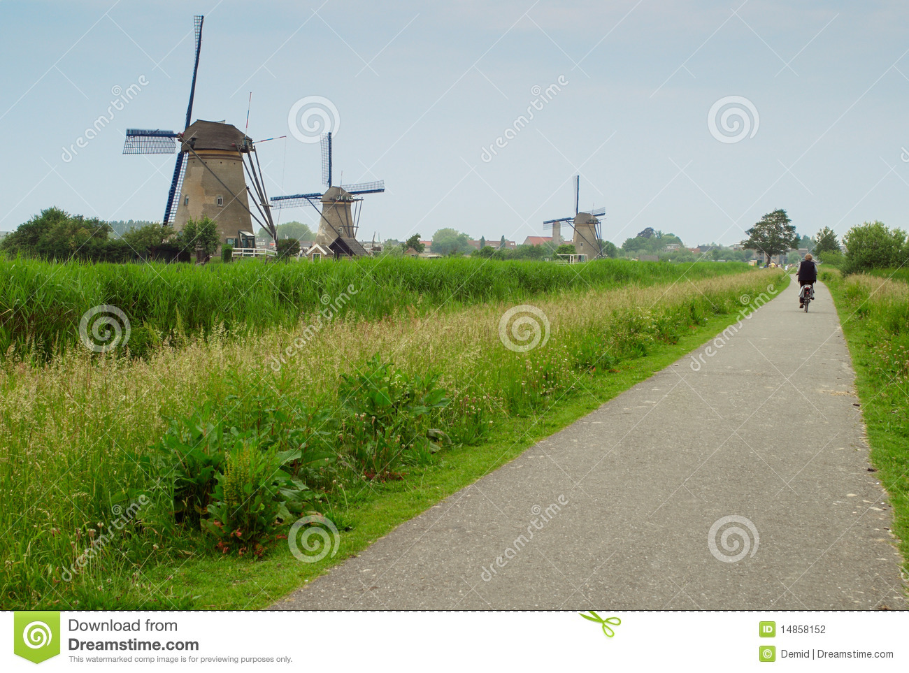 Byciclist and windmills