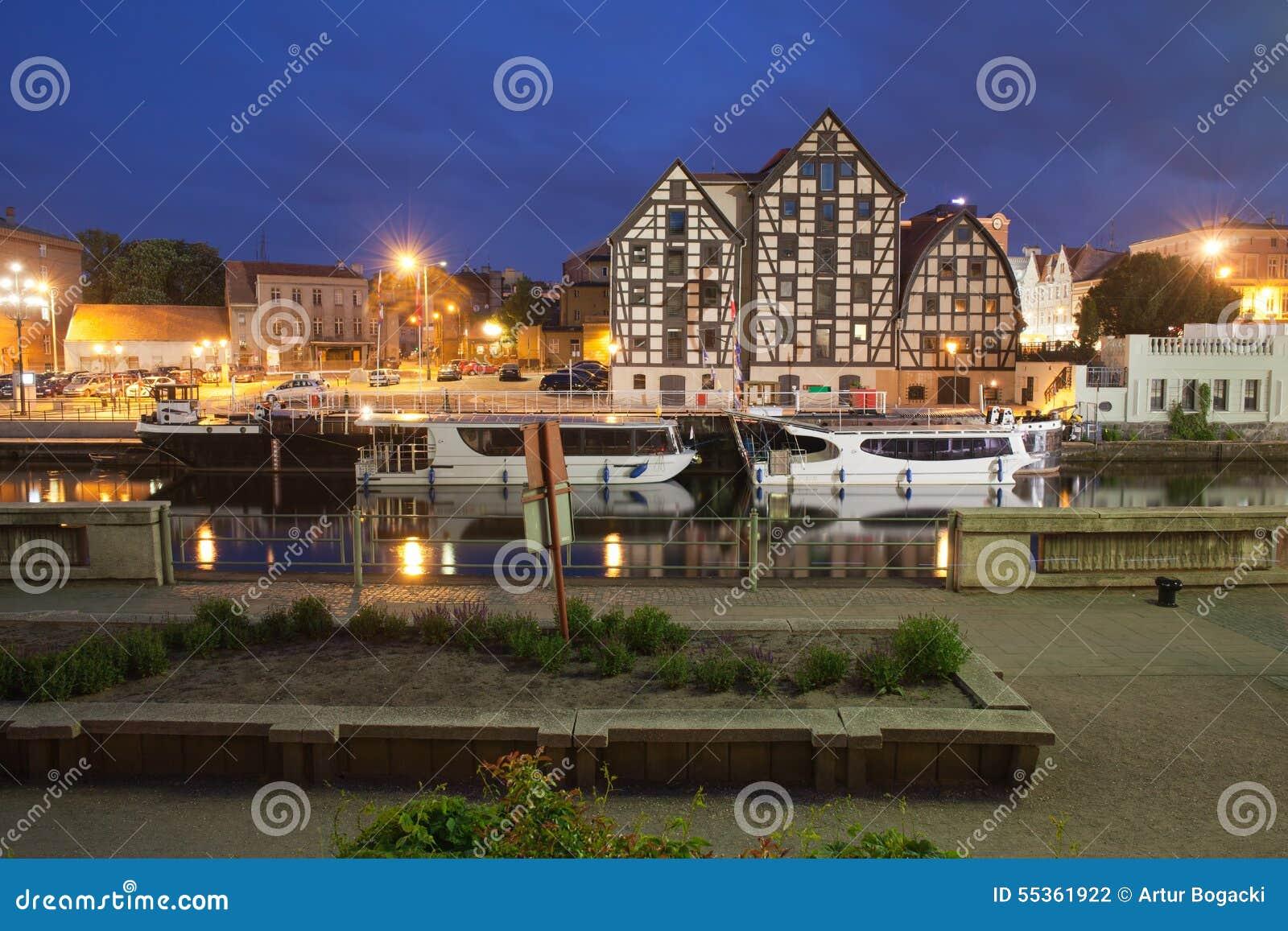 Bydgoszcz di notte in Polonia