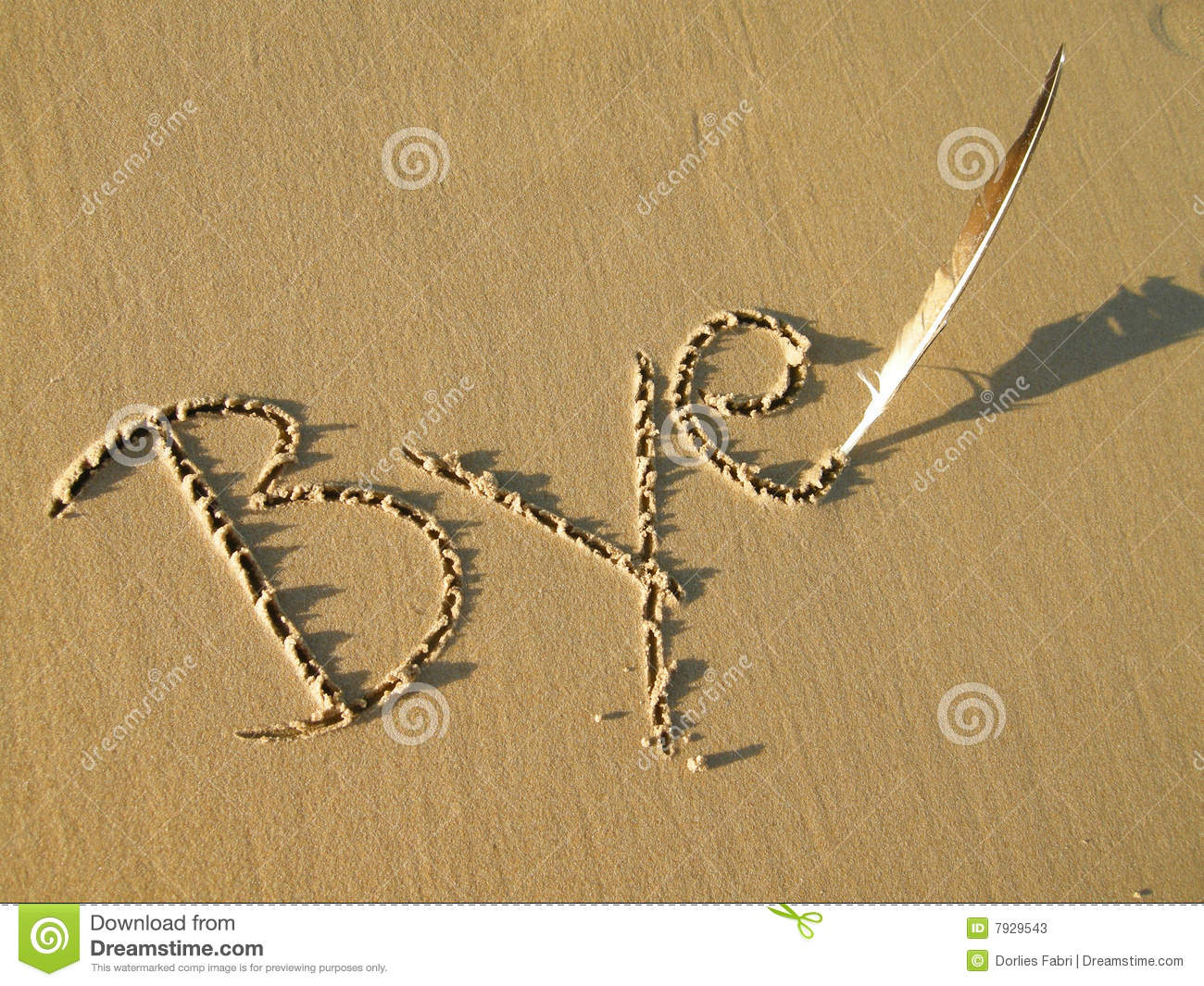 The word BYE written in the sand with a bird feather in sunshine.