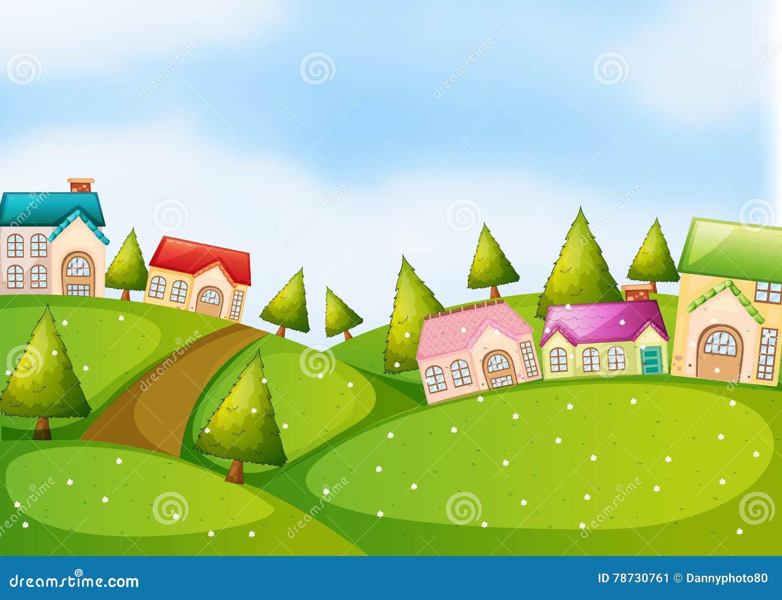 Bygdplats med hus på kullarna