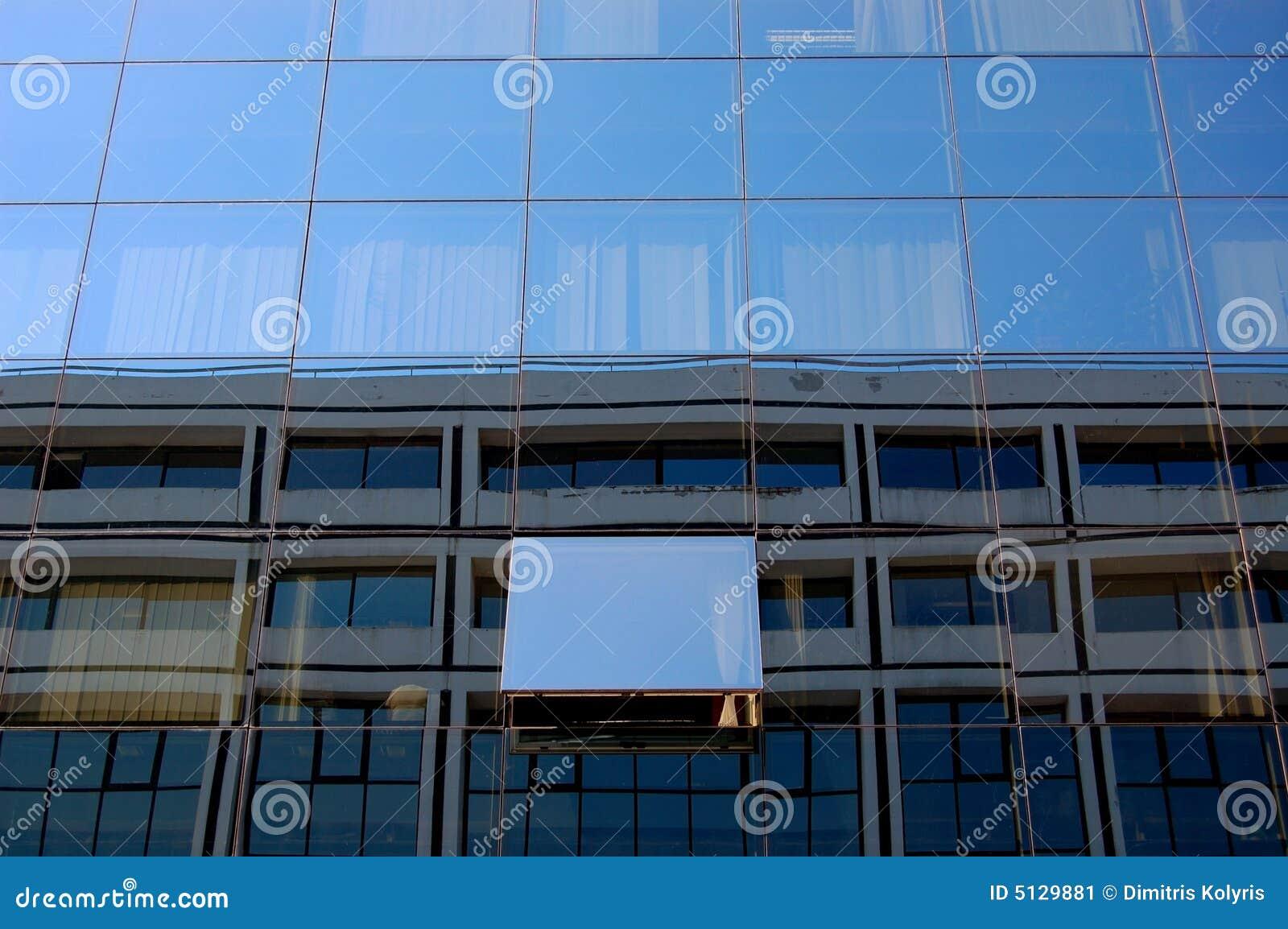 Byggande glass fönster