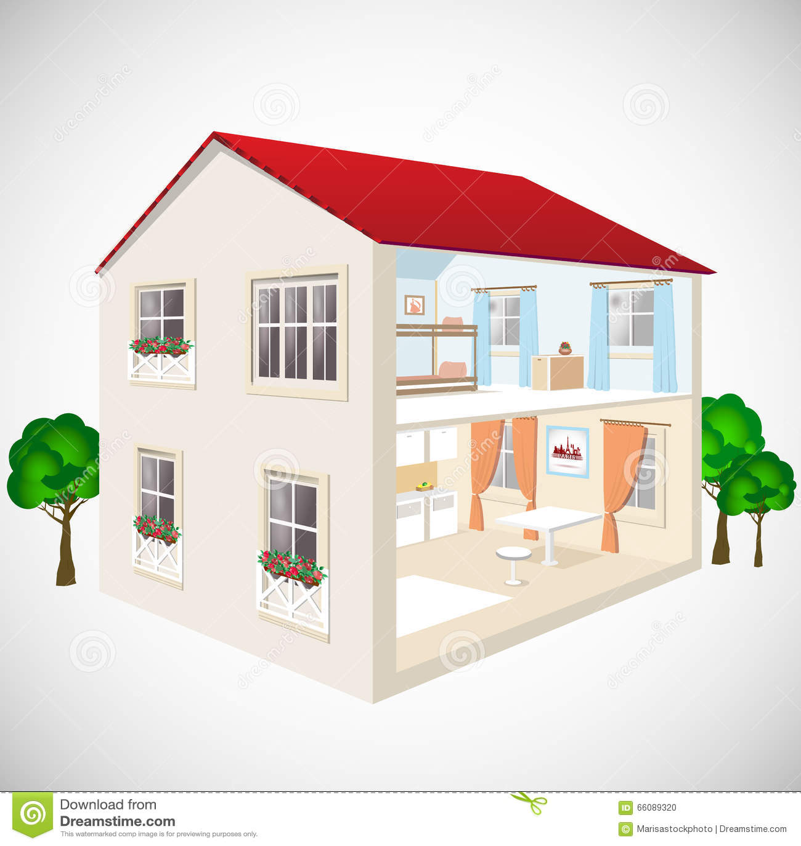 Byggande isometrisk begreppsvektor för plan rengöringsduk 3d Yttersida och inre isometry rum Hus i snitt