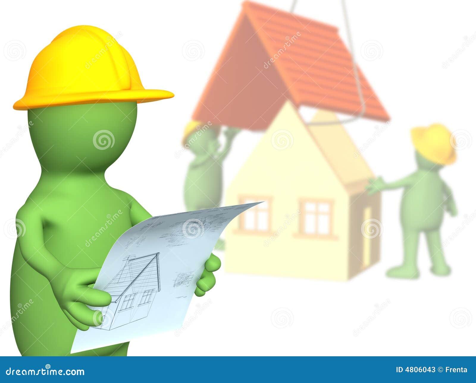 Byggmästare som betraktar designplandockan