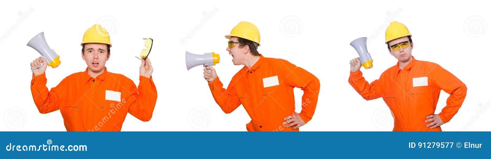 Byggmästaren med högtalaren på vit