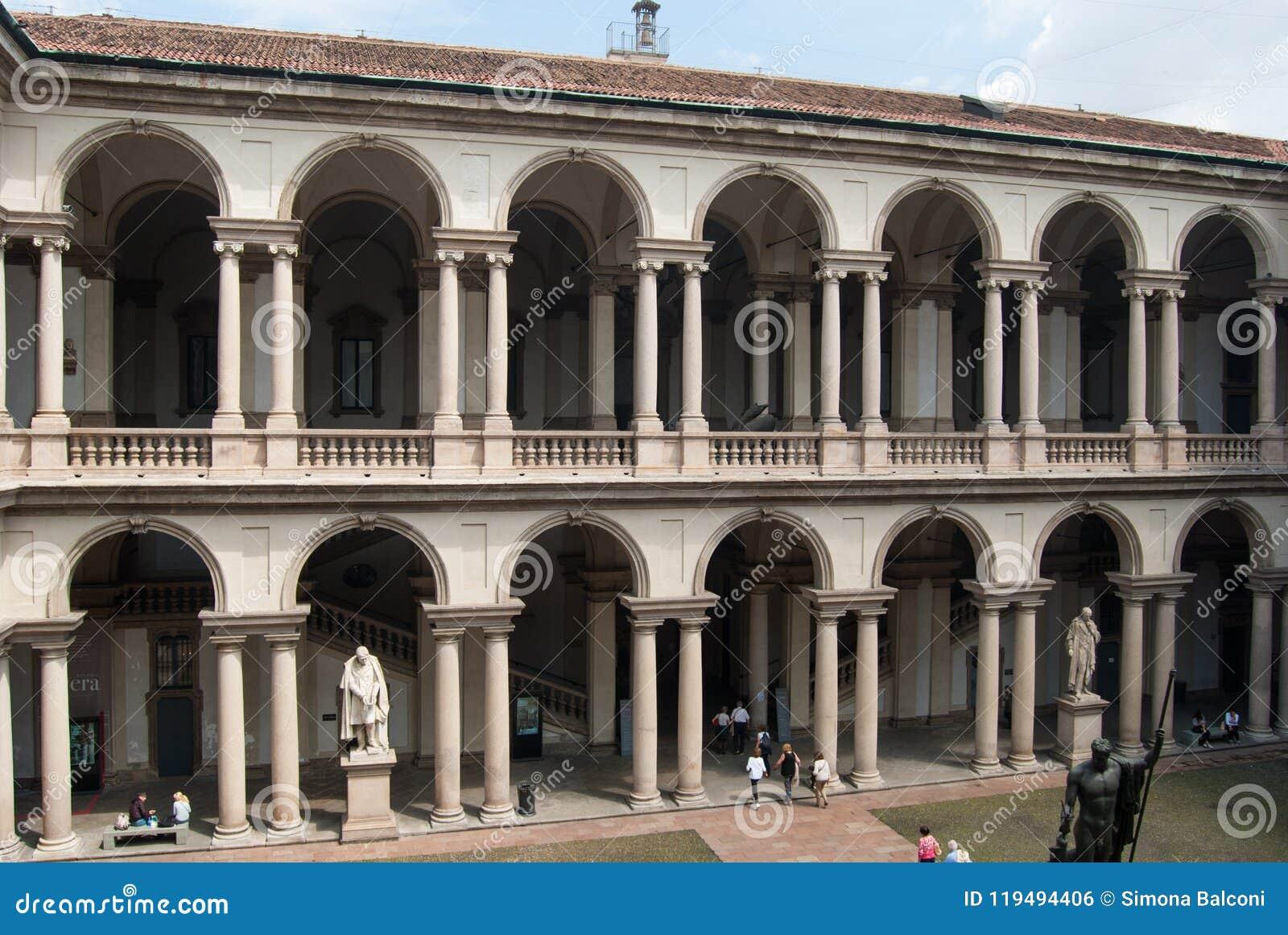 Byggnad av Brera i Milan