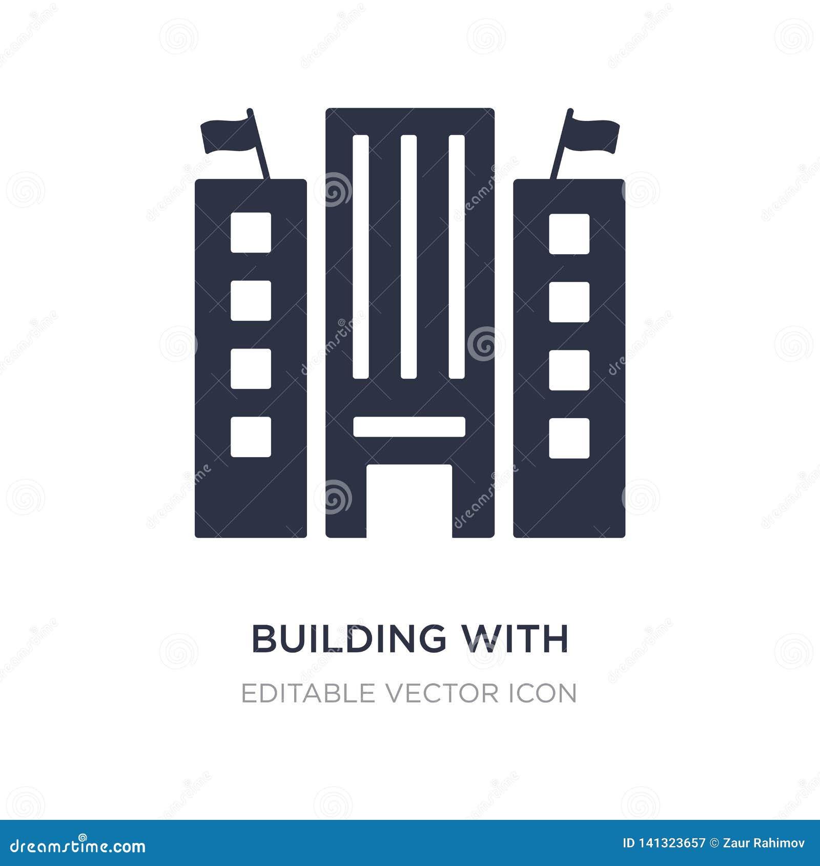 Byggnad med symbolen för två flaggor på vit bakgrund Enkel beståndsdelillustration från byggnadsbegrepp
