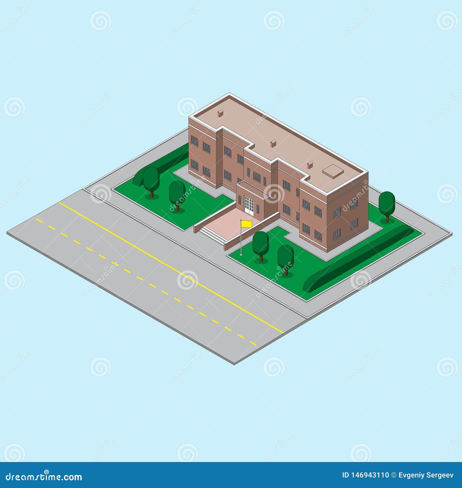 Byggnad, skolatillstånd som är ucherezhdeny med flaggan, och vägen bl? vektor f?r sky f?r oklarhetsbildregnb?ge