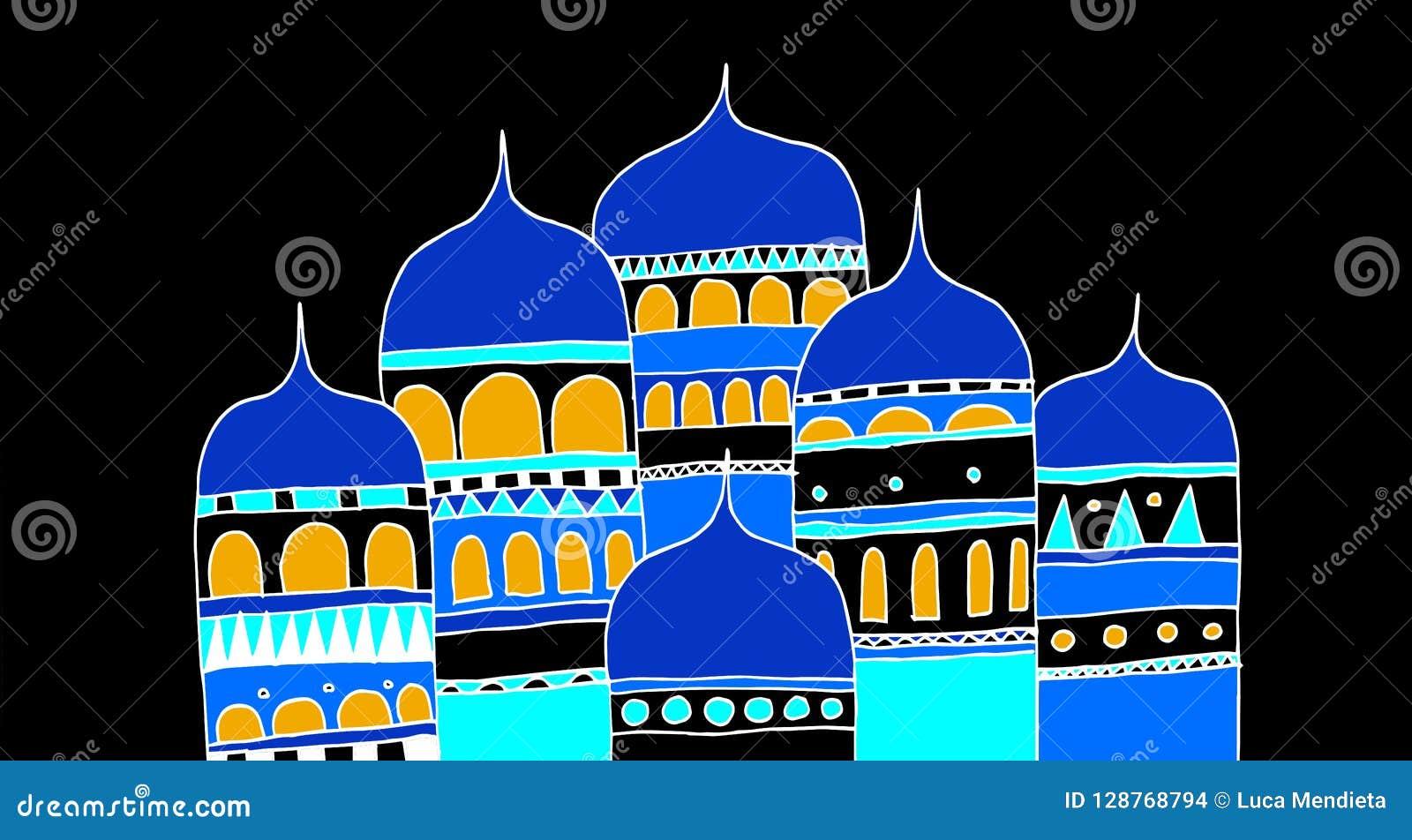 Byggnader av en forntida stad av den ryska välden