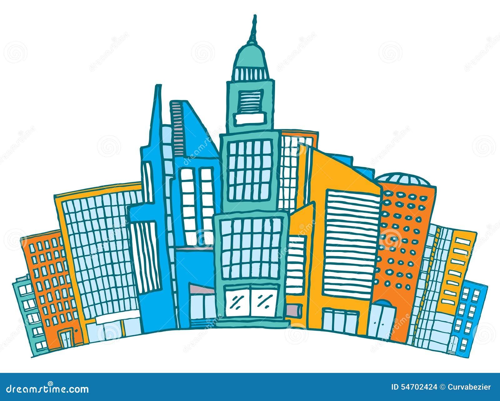 Byggnader tillsammans i i stadens centrum eller finansiellt område