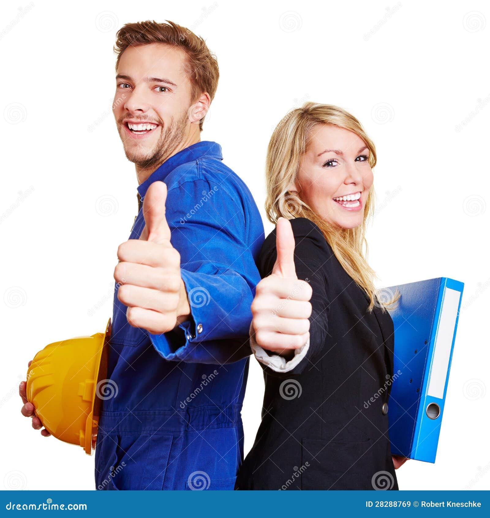 Byggnadsarbetare och affär