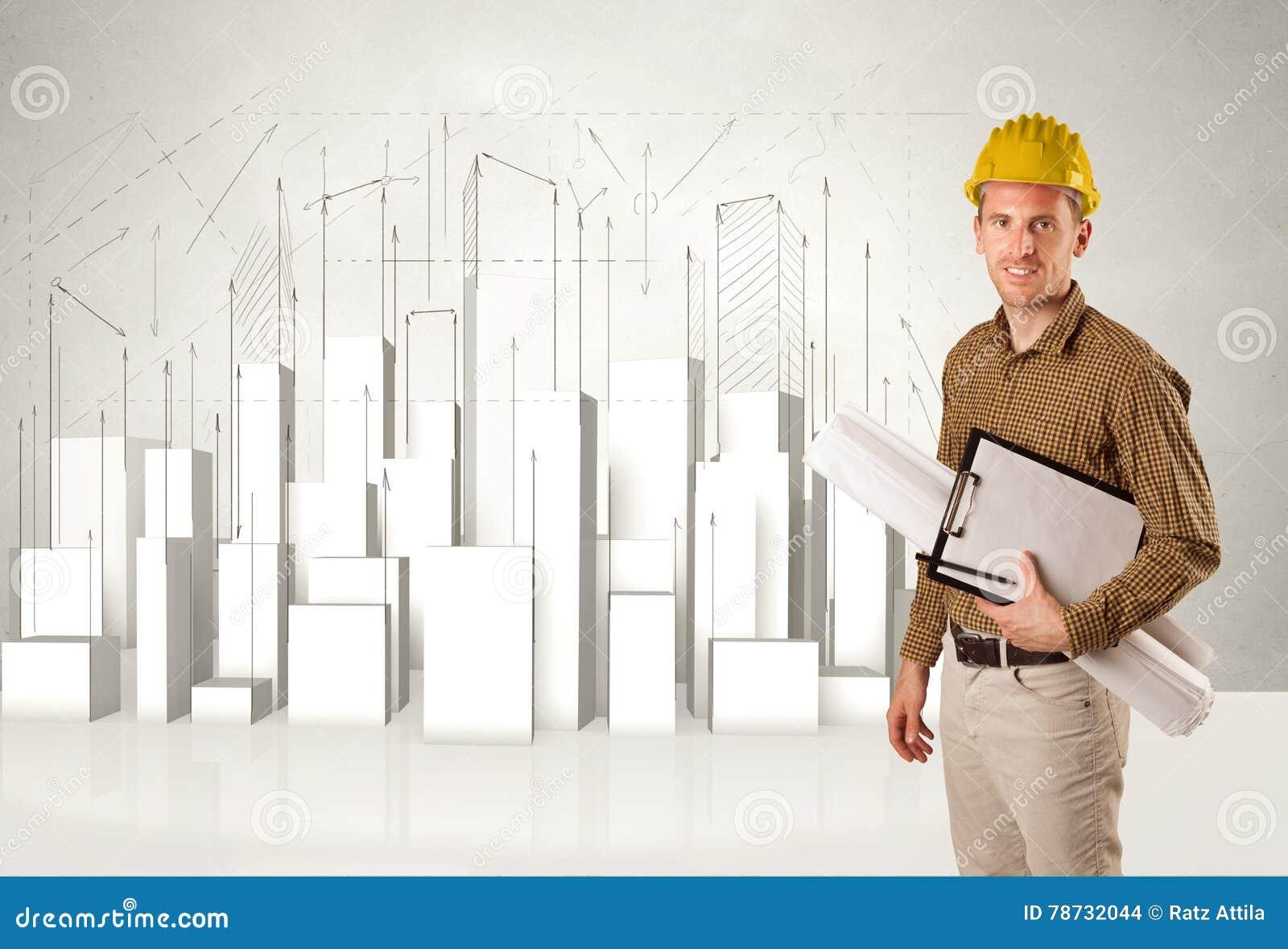 Byggnadsarbetare som hyvlar med byggnader 3d i bakgrund
