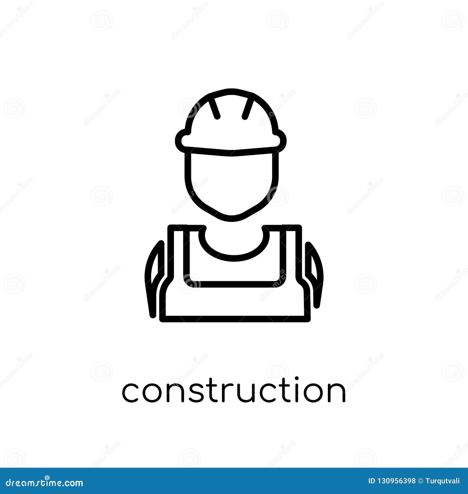 Byggnadsarbetaresymbol Moderiktig modern plan linjär vektor Const