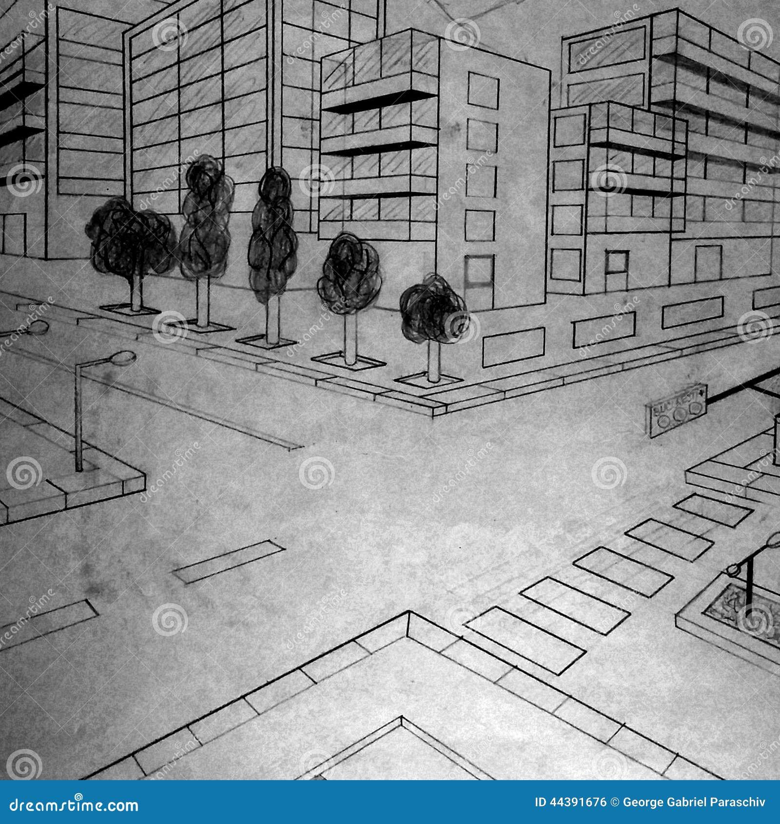 Byggnadsblyertspennateckning som göras av en 5th väghyvel
