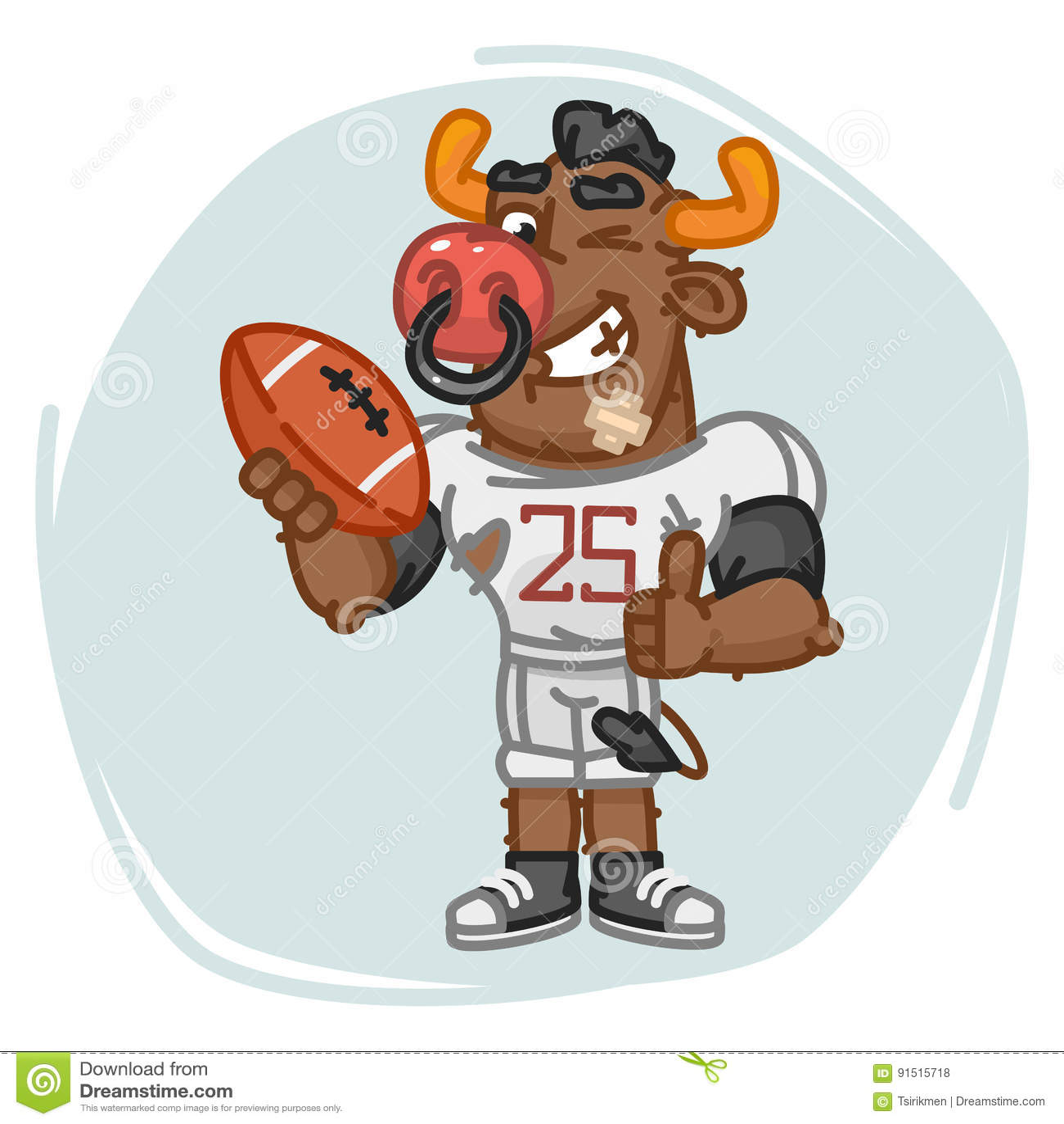 Byka gracz futbolu Trzyma Balowe przedstawienie aprobaty, mrugnięcia i